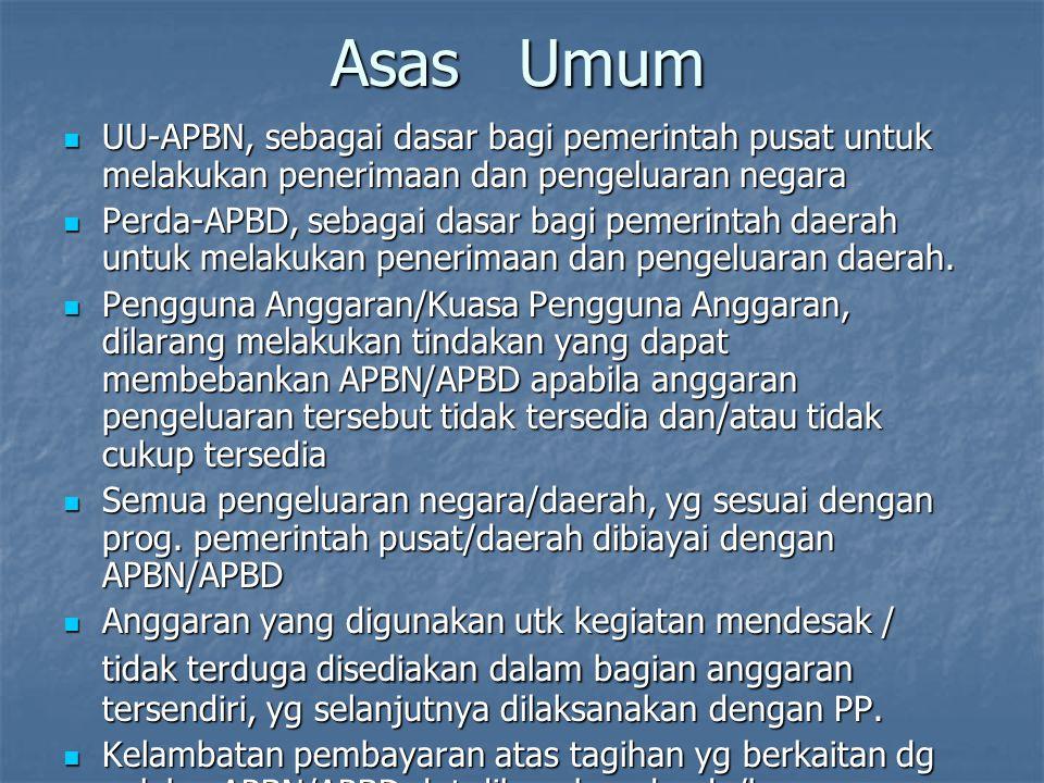 Asas Umum UU-APBN, sebagai dasar bagi pemerintah pusat untuk melakukan penerimaan dan pengeluaran negara.