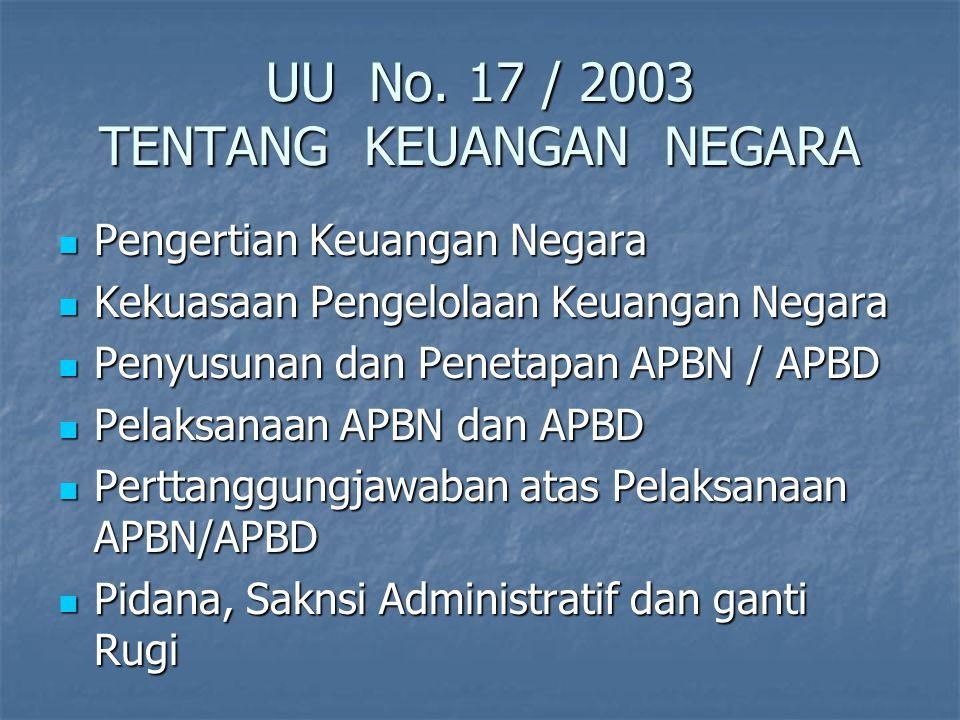 UU No. 17 / 2003 TENTANG KEUANGAN NEGARA