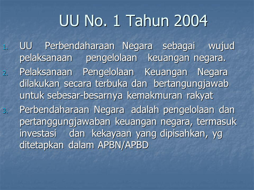 UU No. 1 Tahun 2004 UU Perbendaharaan Negara sebagai wujud pelaksanaan pengelolaan keuangan negara.