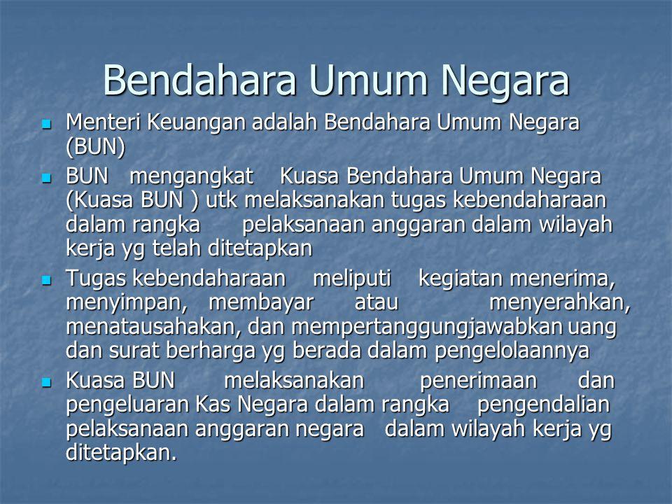Bendahara Umum Negara Menteri Keuangan adalah Bendahara Umum Negara (BUN)