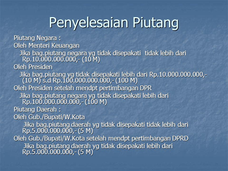 Penyelesaian Piutang Piutang Negara : Oleh Menteri Keuangan