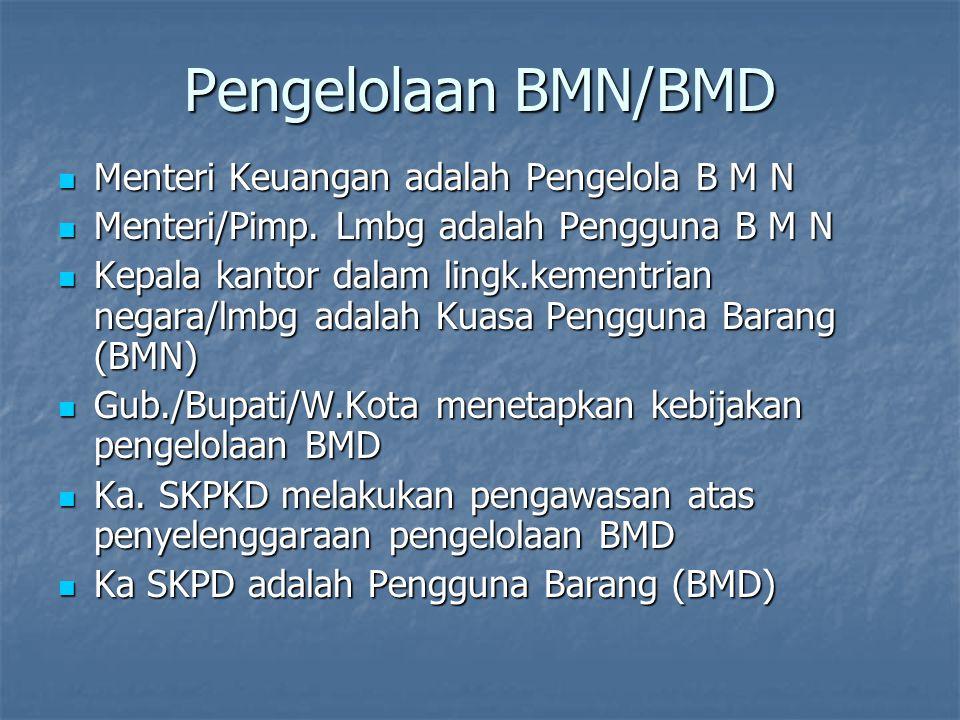 Pengelolaan BMN/BMD Menteri Keuangan adalah Pengelola B M N