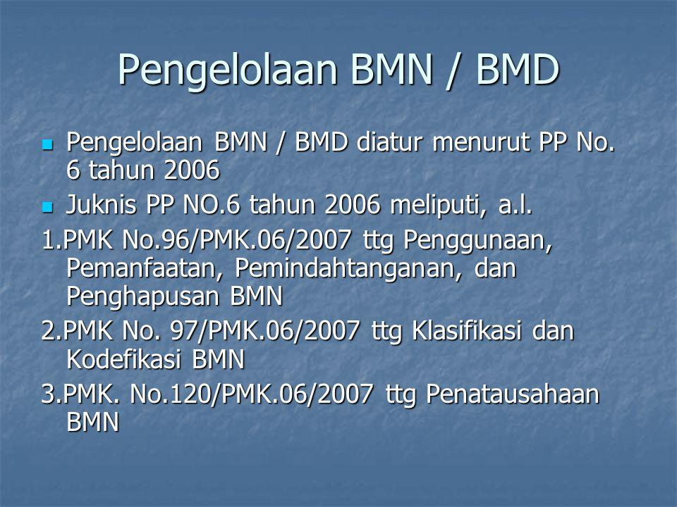 Pengelolaan BMN / BMD Pengelolaan BMN / BMD diatur menurut PP No. 6 tahun 2006. Juknis PP NO.6 tahun 2006 meliputi, a.l.