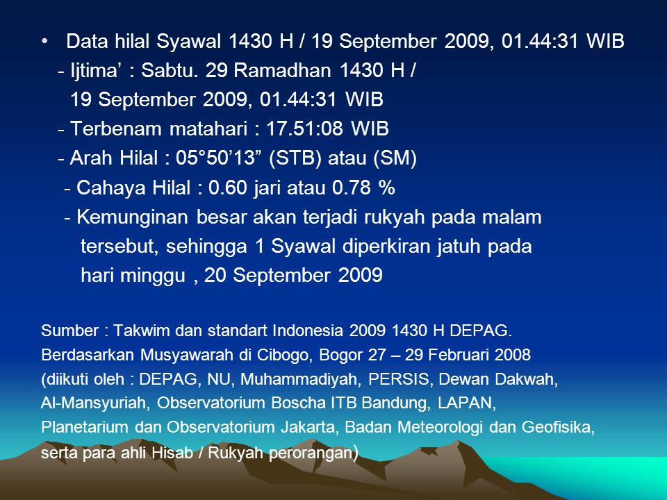 Data hilal Syawal 1430 H / 19 September 2009, 01.44:31 WIB