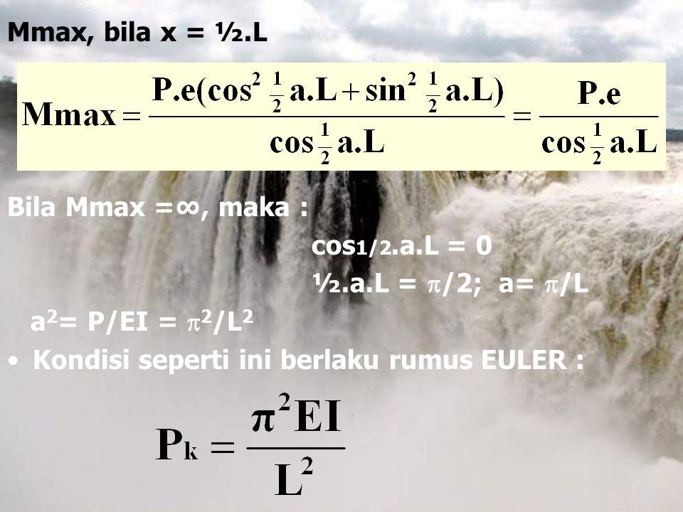 Mmax, bila x = ½.L Bila Mmax =∞, maka : cos1/2.a.L = 0.