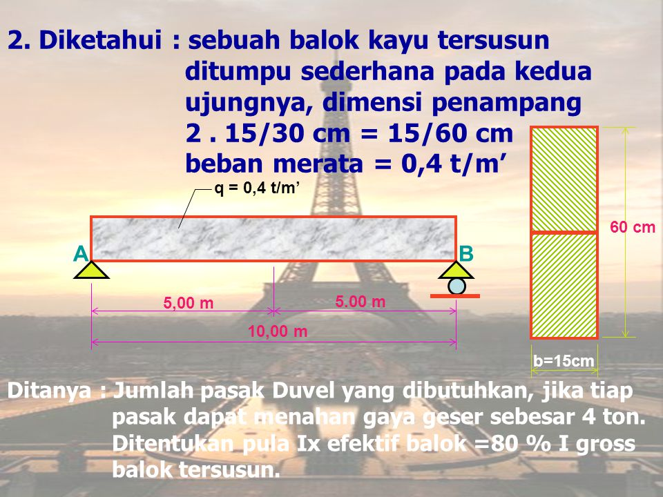 2. Diketahui : sebuah balok kayu tersusun ditumpu sederhana pada kedua ujungnya, dimensi penampang 2 . 15/30 cm = 15/60 cm beban merata = 0,4 t/m'