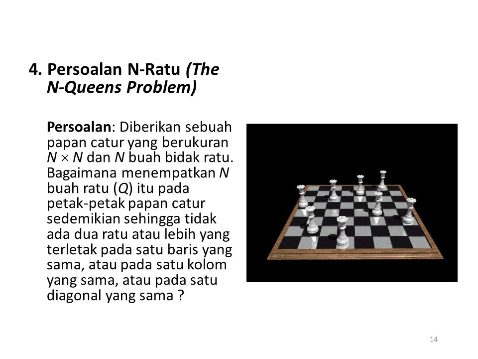4. Persoalan N-Ratu (The N-Queens Problem)