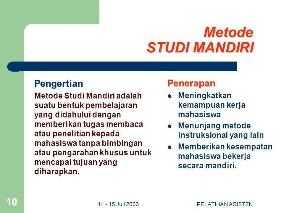 Metode STUDI MANDIRI Pengertian Penerapan