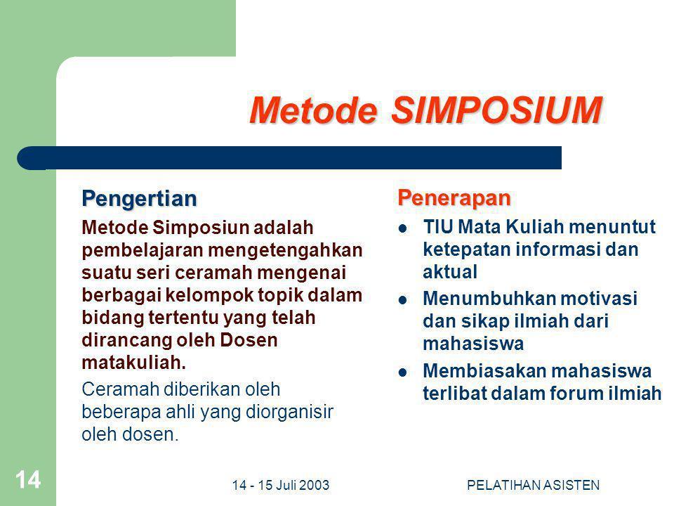 Metode SIMPOSIUM Pengertian Penerapan