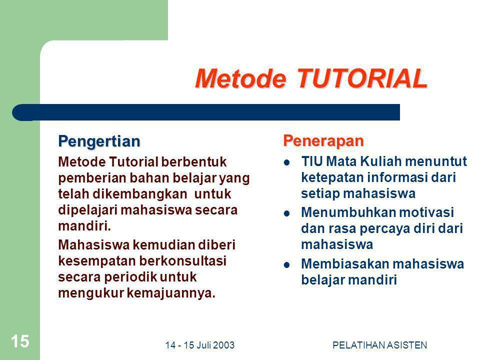 Metode TUTORIAL Pengertian Penerapan