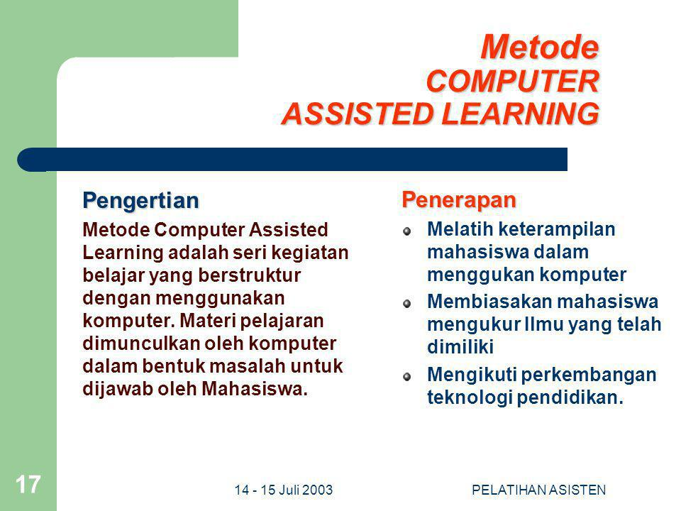 Metode COMPUTER ASSISTED LEARNING