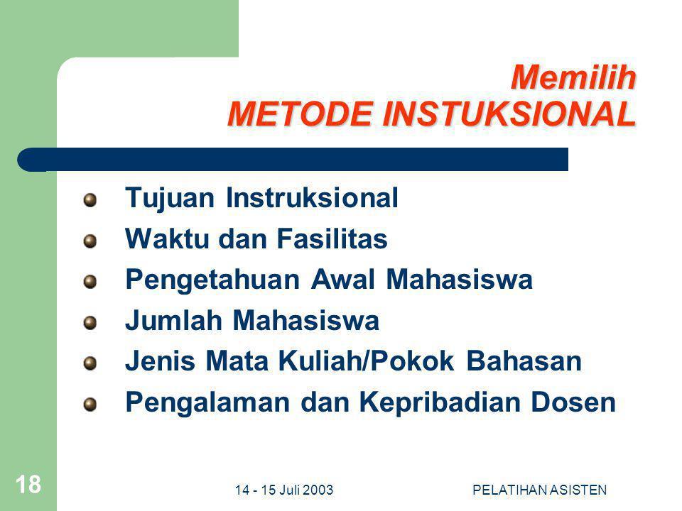 Memilih METODE INSTUKSIONAL