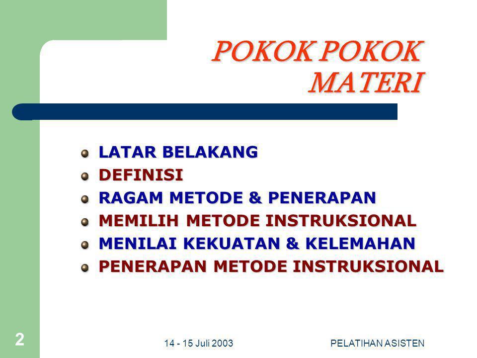 POKOK POKOK MATERI LATAR BELAKANG DEFINISI RAGAM METODE & PENERAPAN