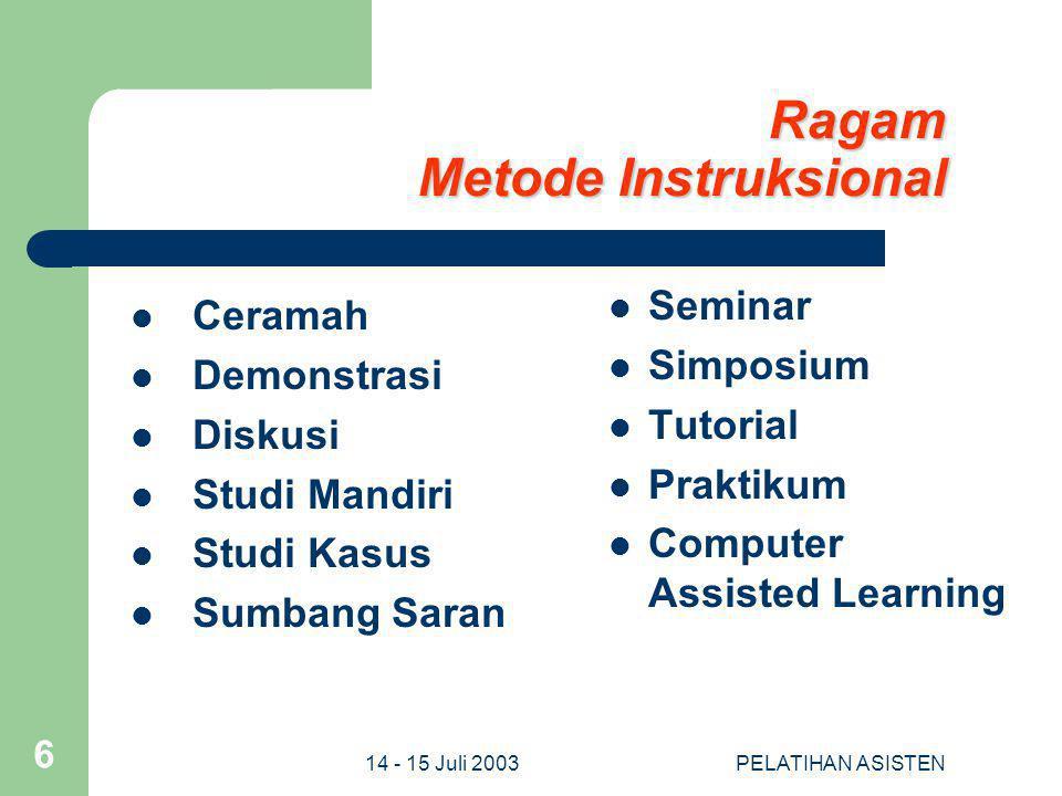 Ragam Metode Instruksional