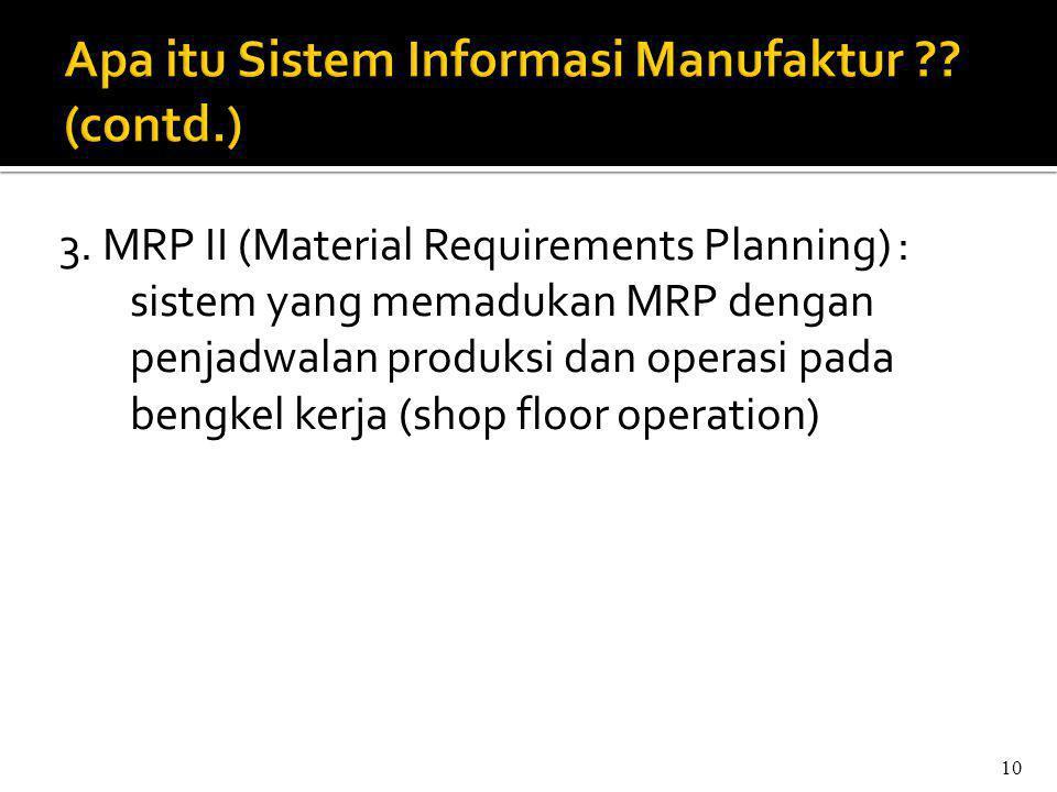 Apa itu Sistem Informasi Manufaktur (contd.)