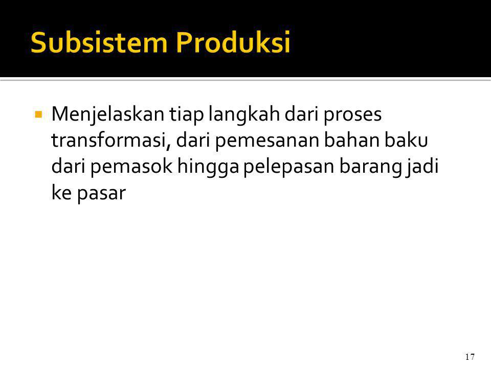 Subsistem Produksi Menjelaskan tiap langkah dari proses transformasi, dari pemesanan bahan baku dari pemasok hingga pelepasan barang jadi ke pasar.