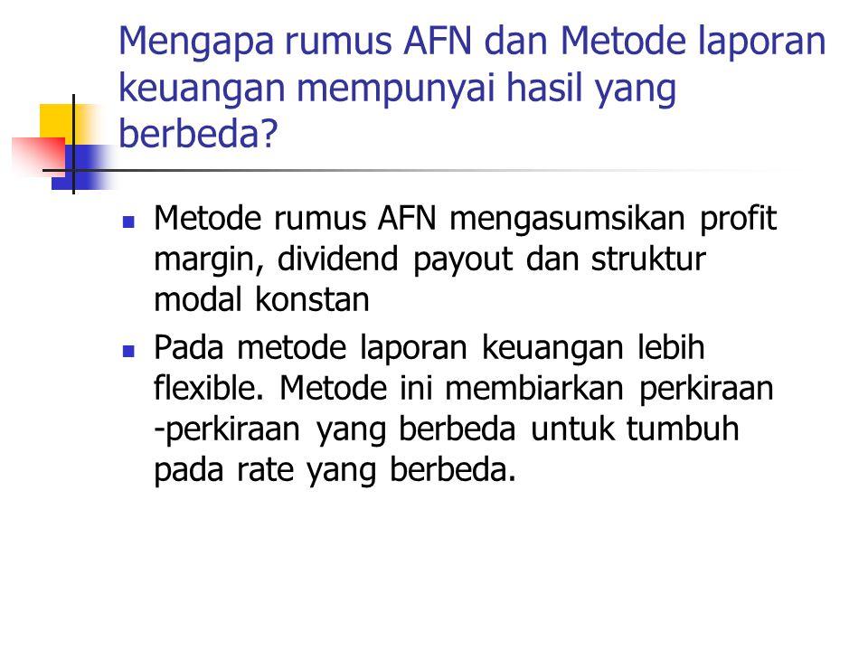 Mengapa rumus AFN dan Metode laporan keuangan mempunyai hasil yang berbeda