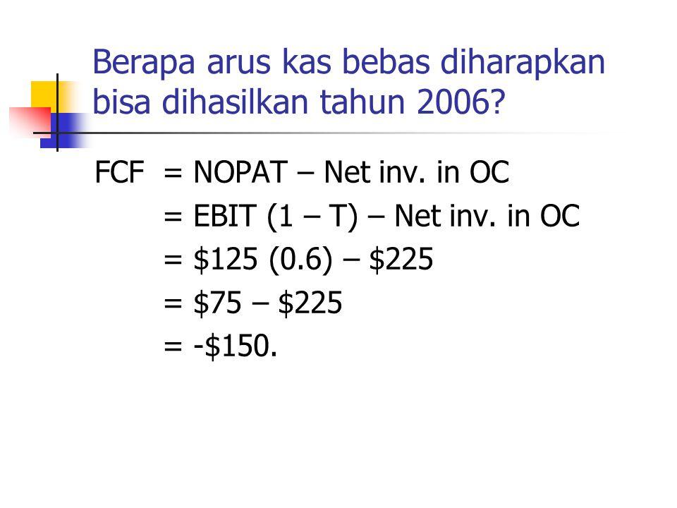 Berapa arus kas bebas diharapkan bisa dihasilkan tahun 2006