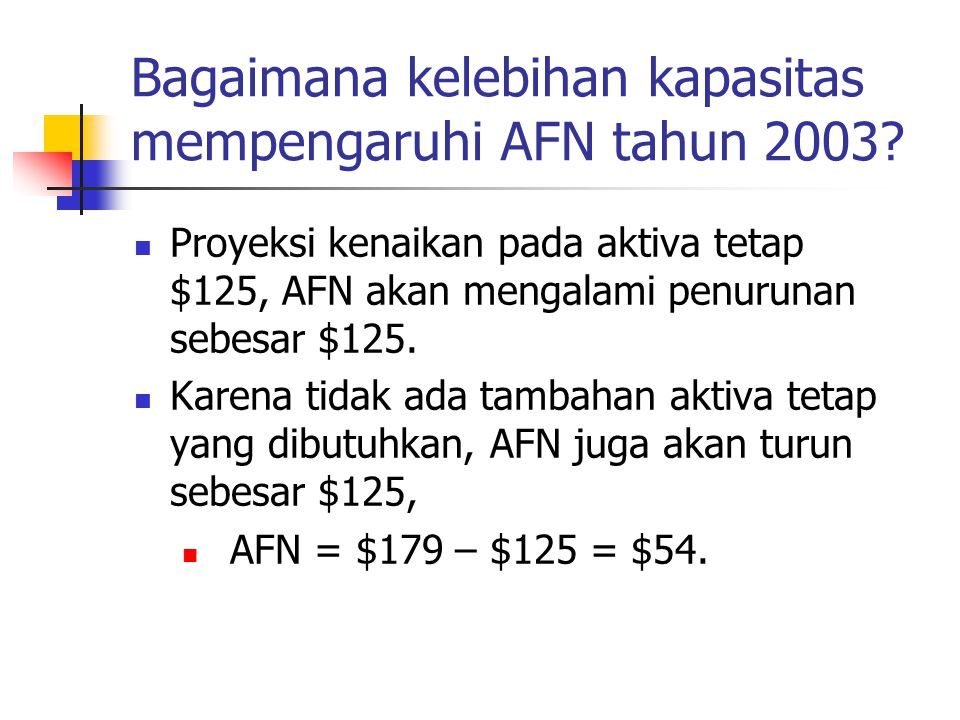 Bagaimana kelebihan kapasitas mempengaruhi AFN tahun 2003