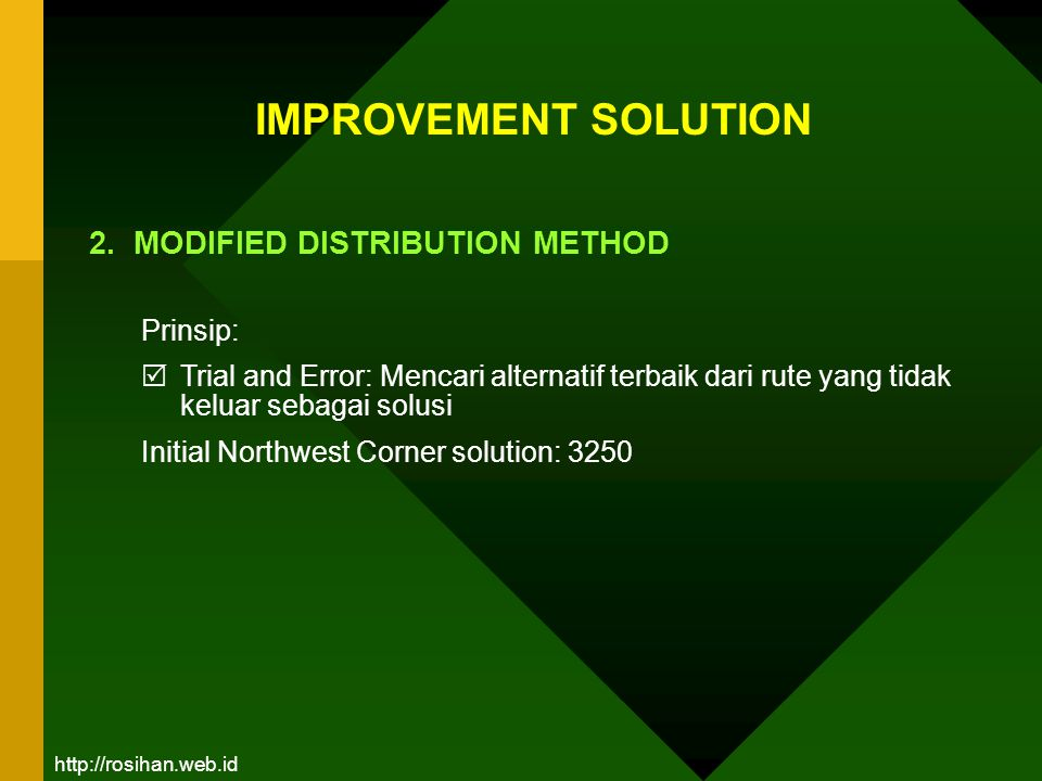 IMPROVEMENT SOLUTION 2. MODIFIED DISTRIBUTION METHOD Prinsip: