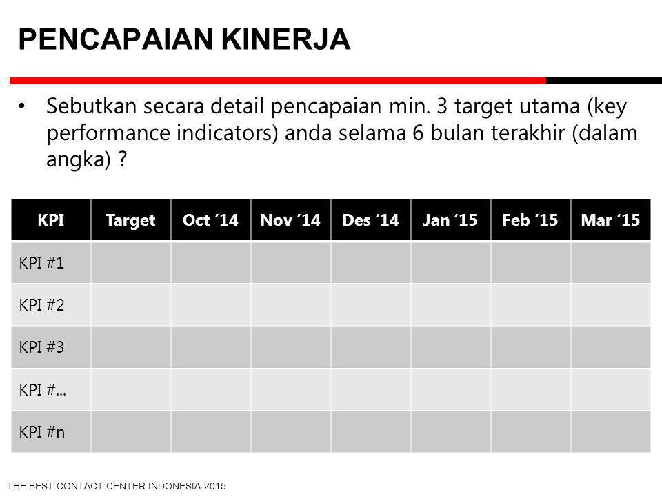 Pencapaian Kinerja Sebutkan secara detail pencapaian min. 3 target utama (key performance indicators) anda selama 6 bulan terakhir (dalam angka)