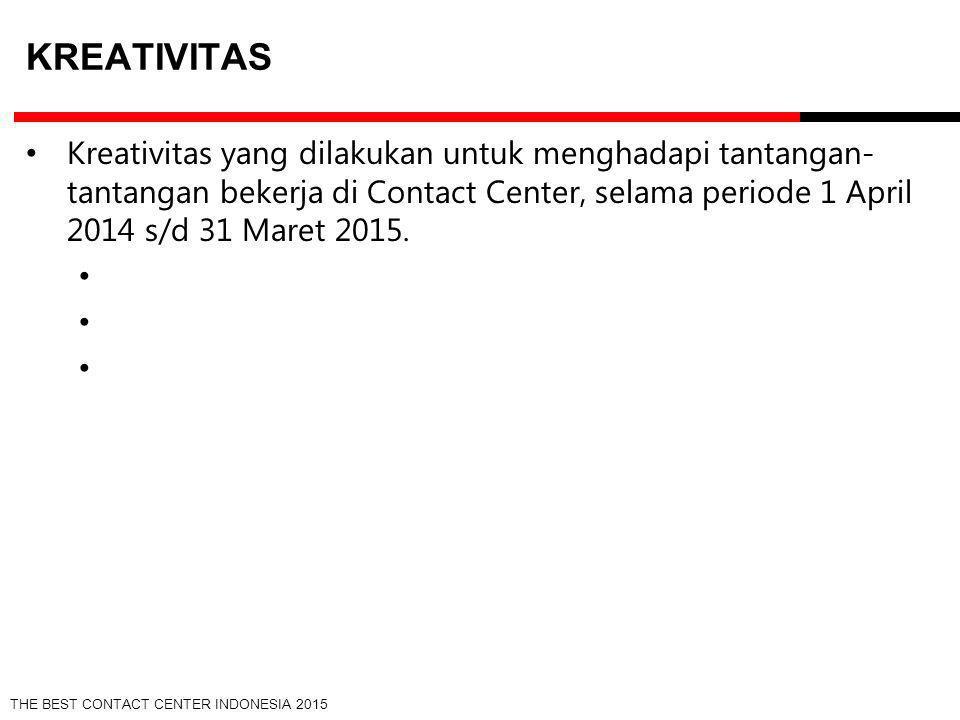 Kreativitas Kreativitas yang dilakukan untuk menghadapi tantangan-tantangan bekerja di Contact Center, selama periode 1 April 2014 s/d 31 Maret 2015.