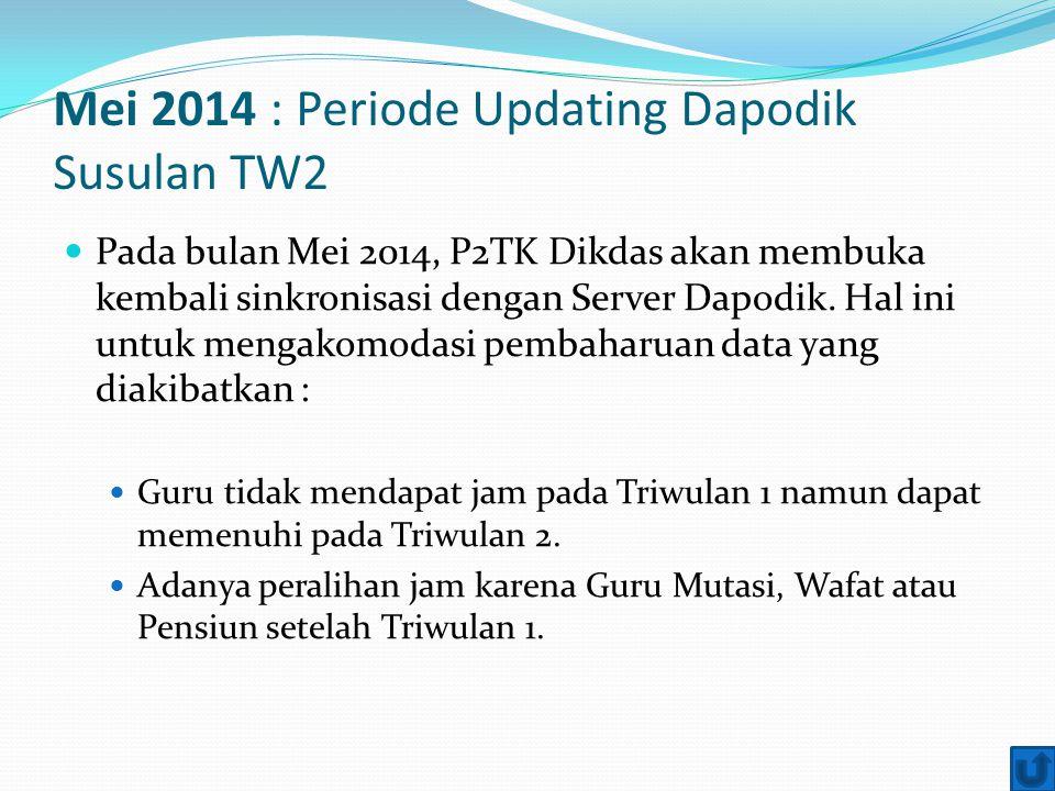 Mei 2014 : Periode Updating Dapodik Susulan TW2