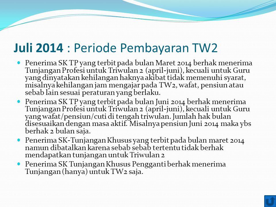 Juli 2014 : Periode Pembayaran TW2