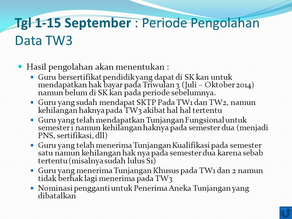 Tgl 1-15 September : Periode Pengolahan Data TW3
