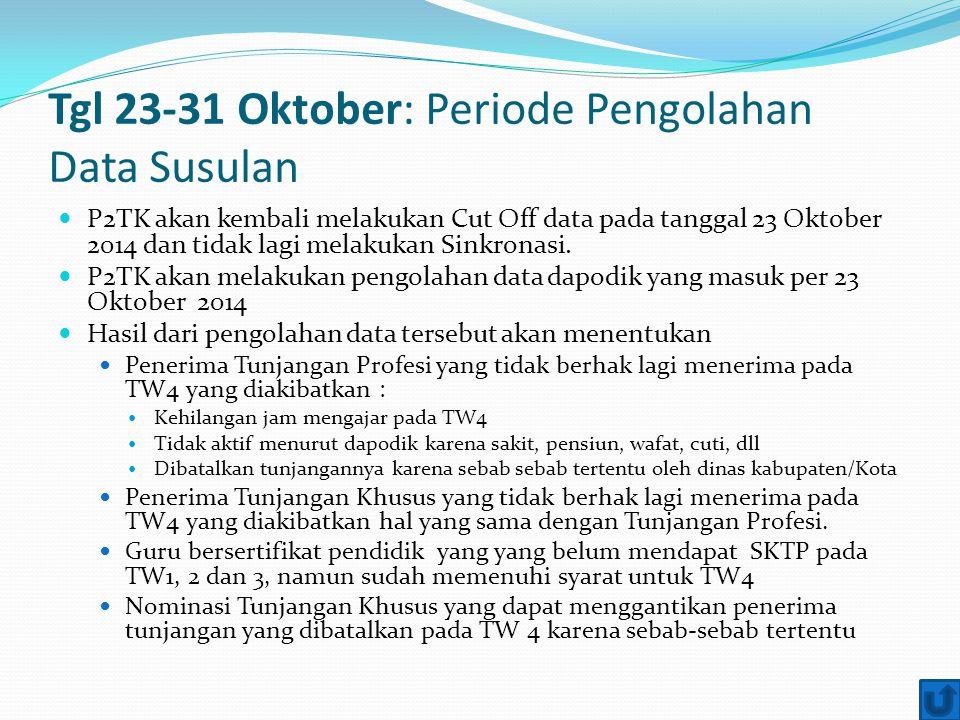 Tgl 23-31 Oktober: Periode Pengolahan Data Susulan