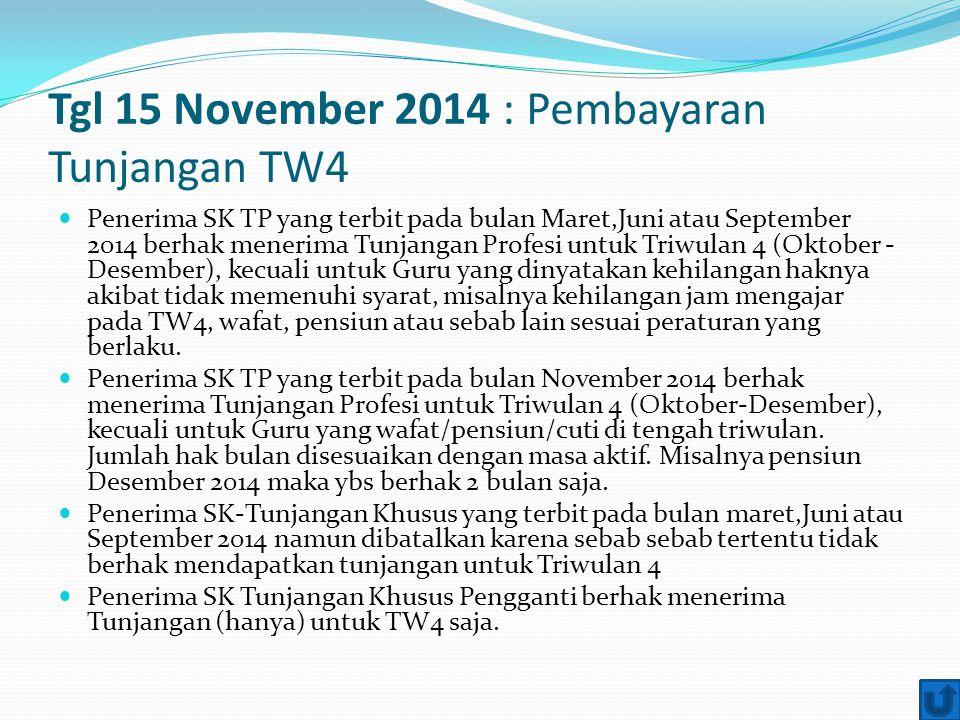 Tgl 15 November 2014 : Pembayaran Tunjangan TW4