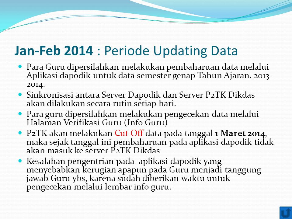 Jan-Feb 2014 : Periode Updating Data