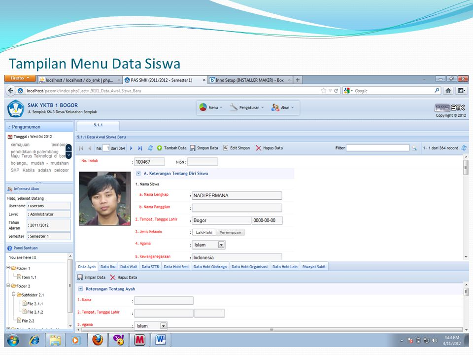 Tampilan Menu Data Siswa