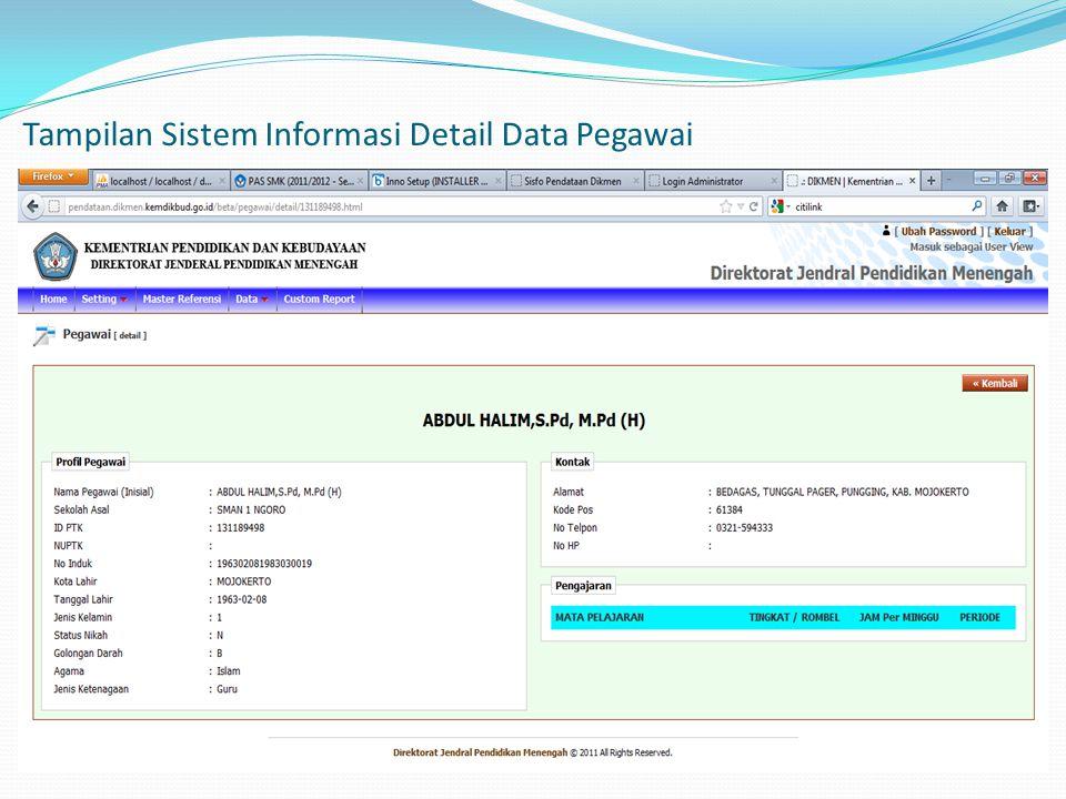 Tampilan Sistem Informasi Detail Data Pegawai