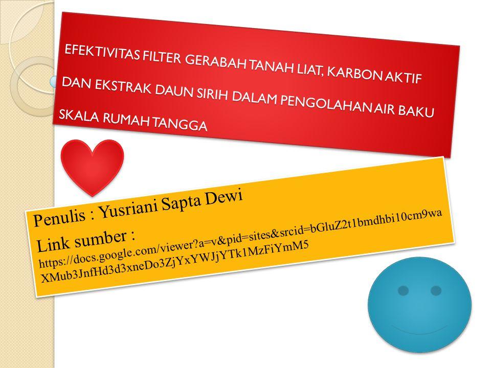 Penulis : Yusriani Sapta Dewi