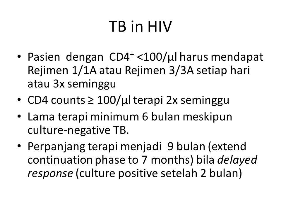 TB in HIV Pasien dengan CD4+ <100/µl harus mendapat Rejimen 1/1A atau Rejimen 3/3A setiap hari atau 3x seminggu.