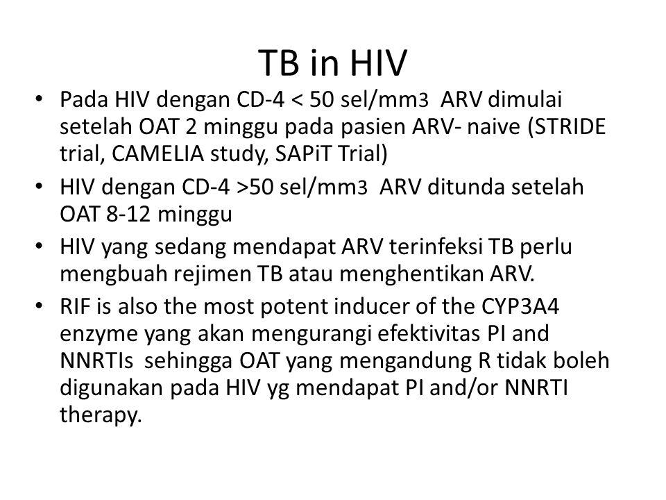 TB in HIV Pada HIV dengan CD-4 < 50 sel/mm3 ARV dimulai setelah OAT 2 minggu pada pasien ARV- naive (STRIDE trial, CAMELIA study, SAPiT Trial)