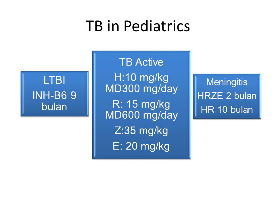TB in Pediatrics TB Active H:10 mg/kg MD300 mg/day LTBI