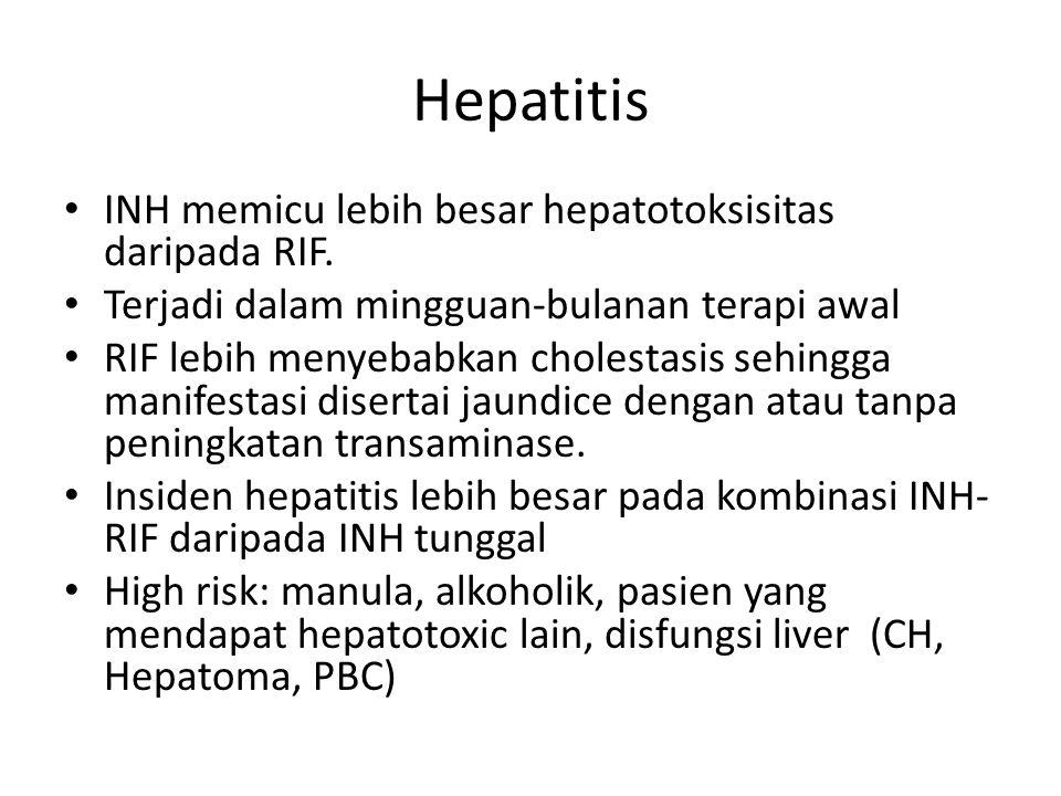 Hepatitis INH memicu lebih besar hepatotoksisitas daripada RIF.