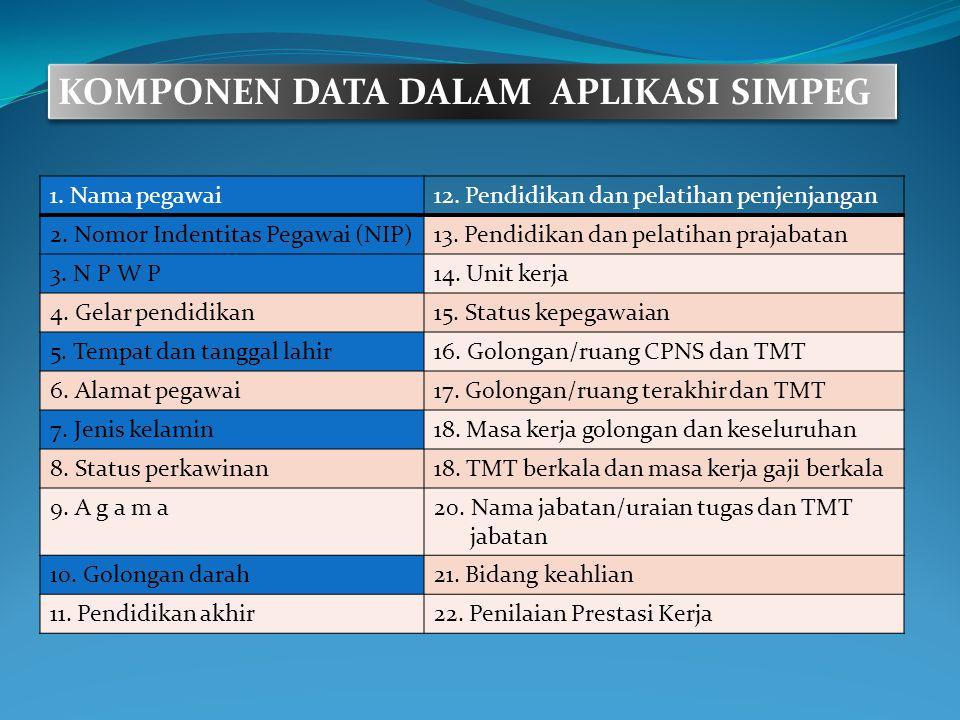 DATA KEPEGAWAIAN KOMPONEN DATA DALAM APLIKASI SIMPEG 1. Nama pegawai