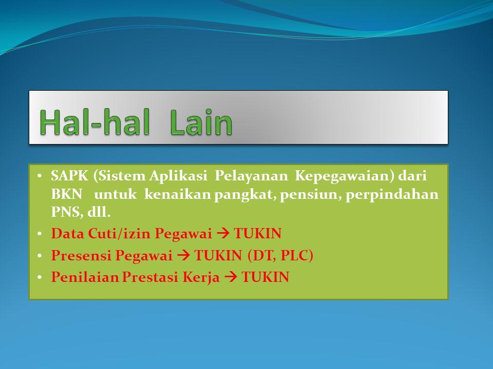 Hal-hal Lain SAPK (Sistem Aplikasi Pelayanan Kepegawaian) dari BKN untuk kenaikan pangkat, pensiun, perpindahan PNS, dll.