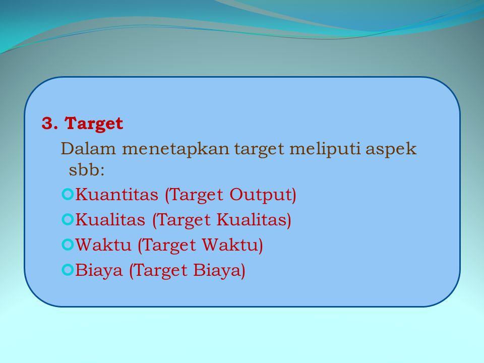 3. Target Dalam menetapkan target meliputi aspek sbb: Kuantitas (Target Output) Kualitas (Target Kualitas)