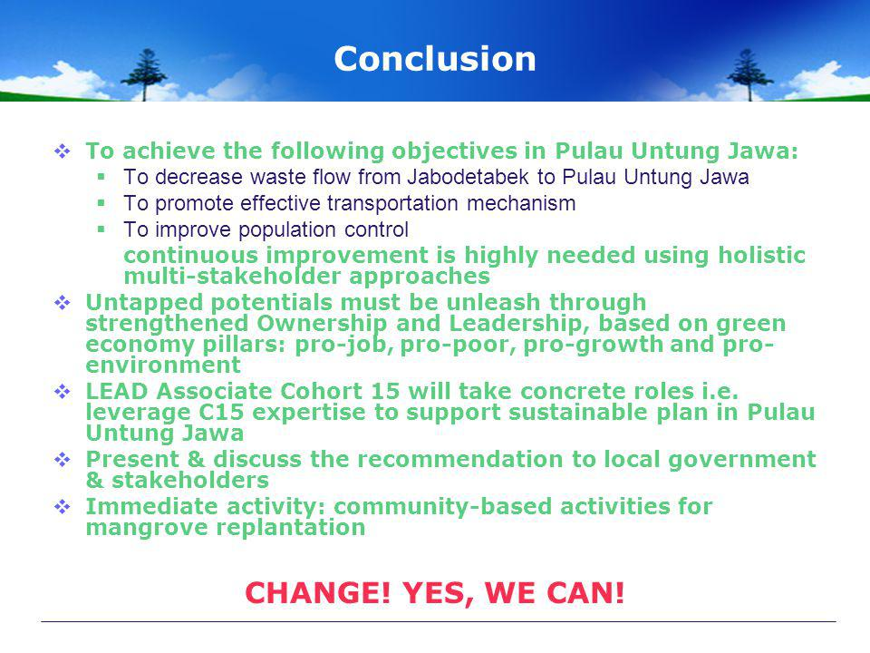 Conclusion CHANGE! YES, WE CAN!