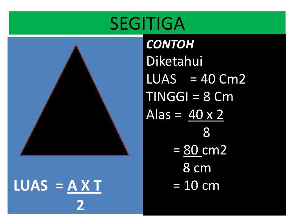 SEGITIGA LUAS = A X T 2 a t L 12 5 .. 8 40 20 60 Diketahui