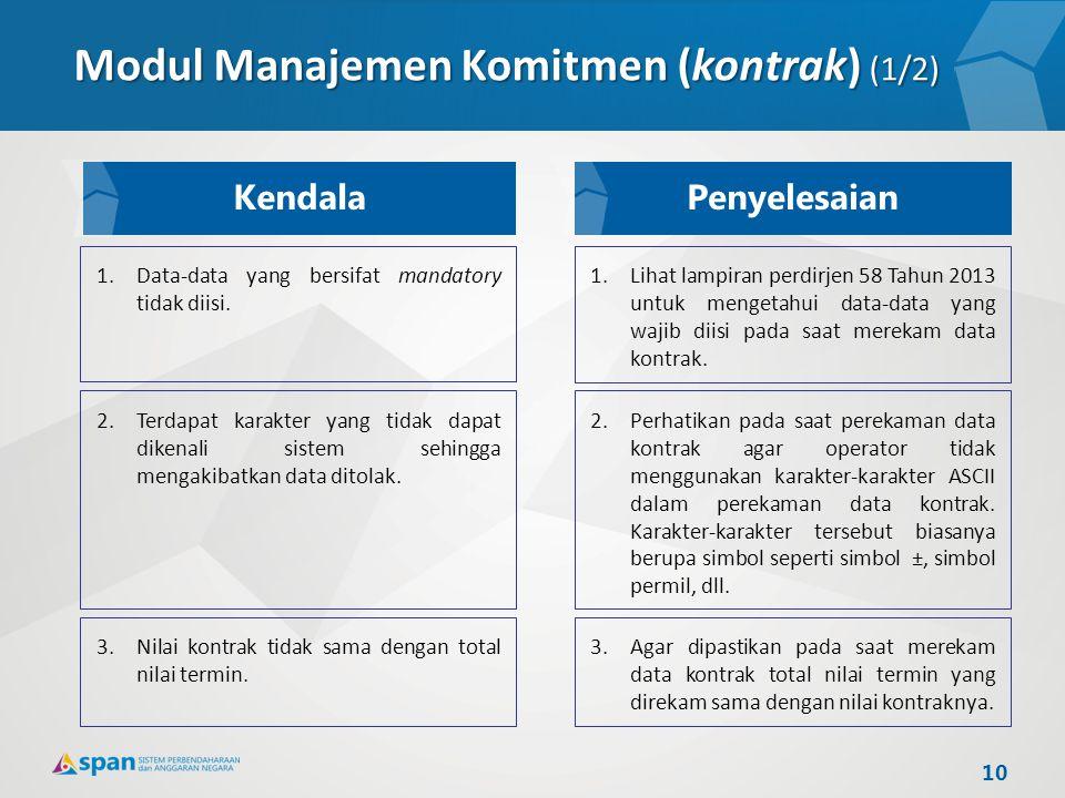 Modul Manajemen Komitmen (kontrak) (1/2)