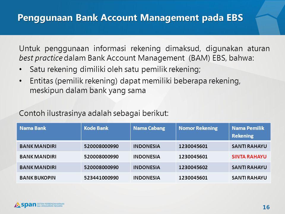 Penggunaan Bank Account Management pada EBS