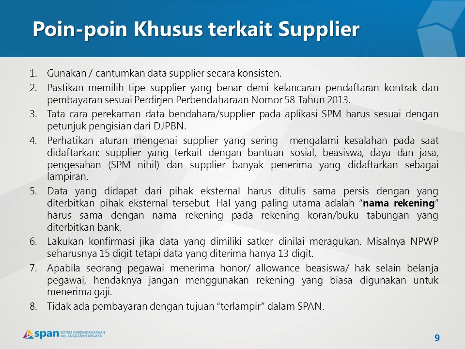 Poin-poin Khusus terkait Supplier