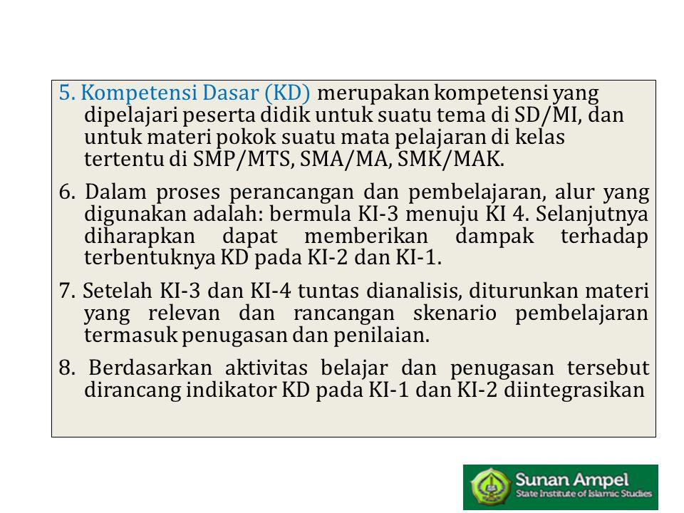 5. Kompetensi Dasar (KD) merupakan kompetensi yang dipelajari peserta didik untuk suatu tema di SD/MI, dan untuk materi pokok suatu mata pelajaran di kelas tertentu di SMP/MTS, SMA/MA, SMK/MAK.