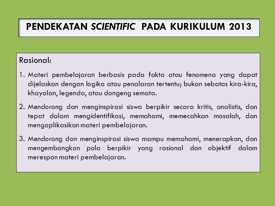 PENDEKATAN SCIENTIFIC PADA KURIKULUM 2013