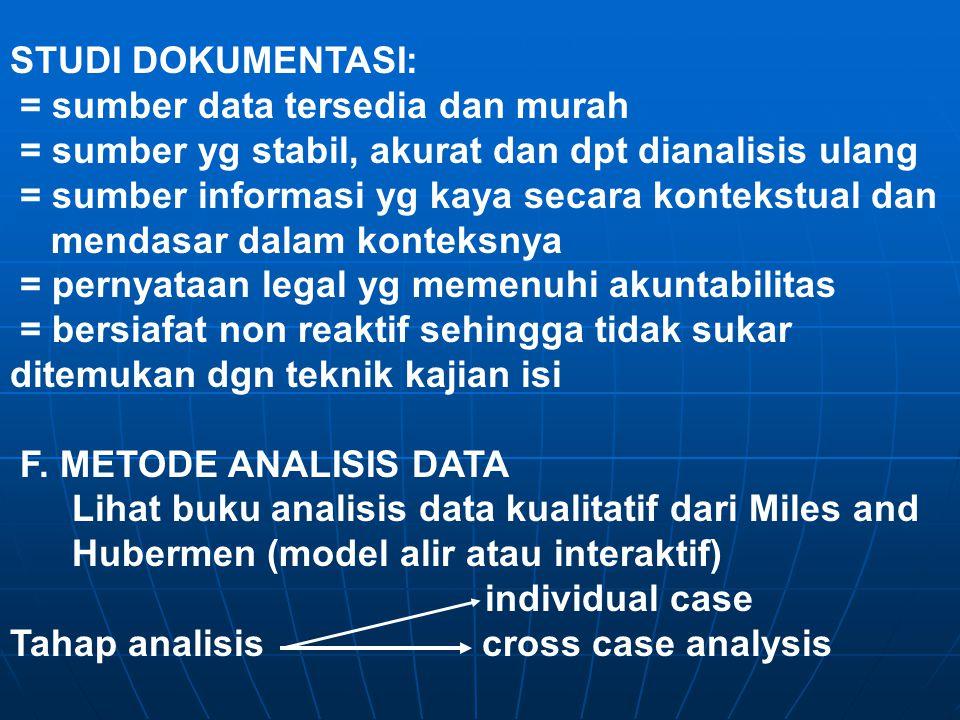 STUDI DOKUMENTASI: = sumber data tersedia dan murah. = sumber yg stabil, akurat dan dpt dianalisis ulang.